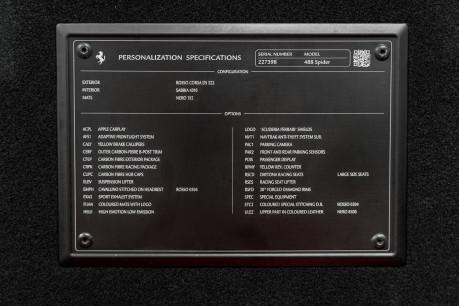 Ferrari 488 SPIDER. CARBON EXT & INT PACKS. PASSENGER DISPLAY. FRONT LIFT. REAR CAMERA. 30