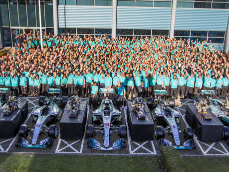 Mercedes celebrate fifth consecutive World Championship Double