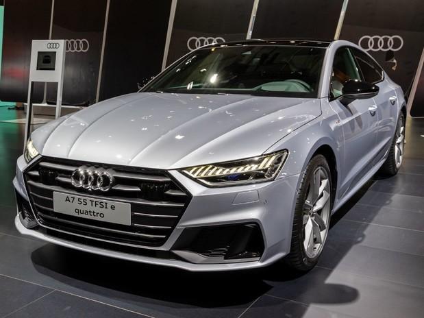 A silver Audi A7 TFSI Quattro in an Audi showroom