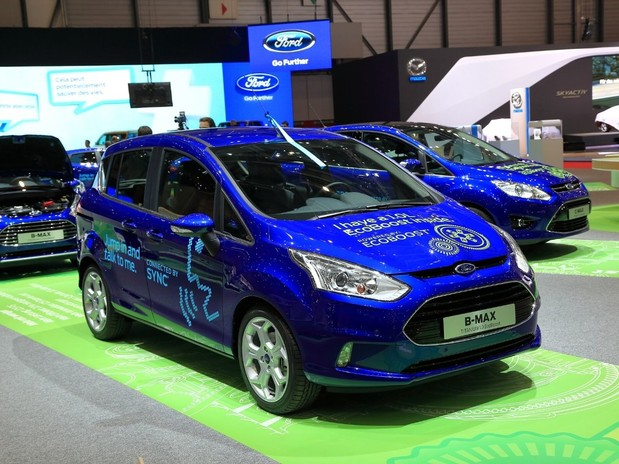 A blue Ford B-Max, front 3 quarter view in a Ford showroom