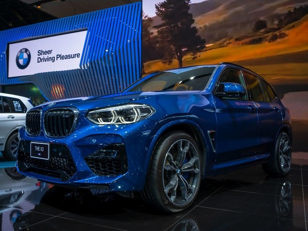 A blue BMW X3 xDrive 20D on display at the Motor Expo 2019 Thailand